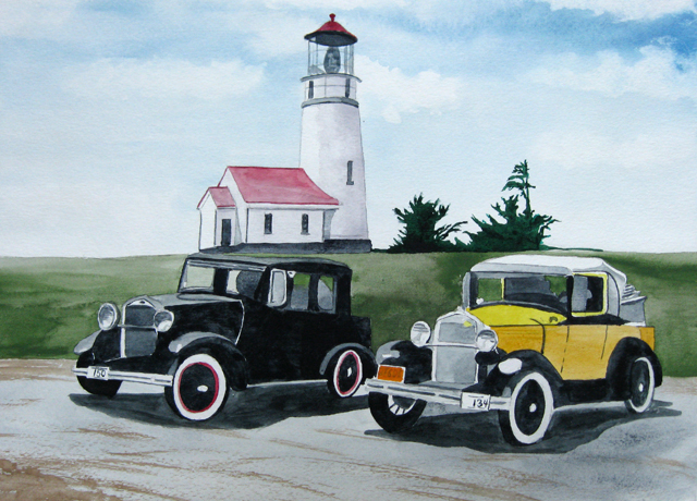 Cape Blanco Light with Cars, Watercolor Painting