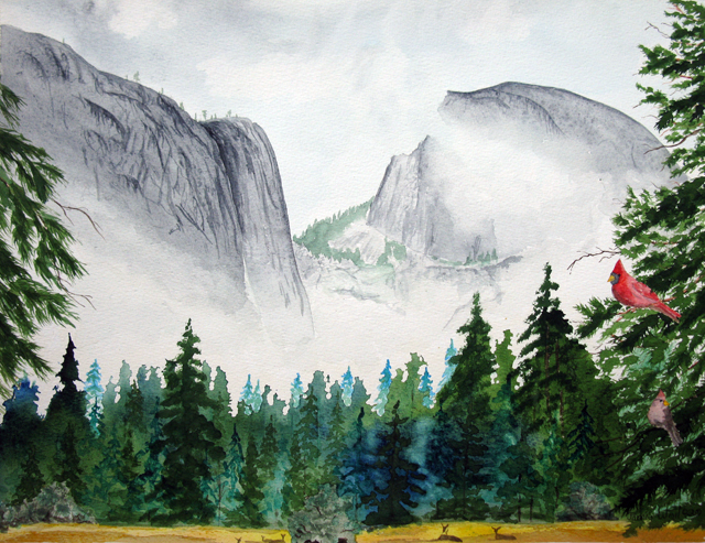 Cadinals and Half Dome, Watercolor Painting
