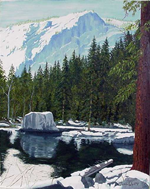 Glacier Point from Mirror Lake, Oil Paining