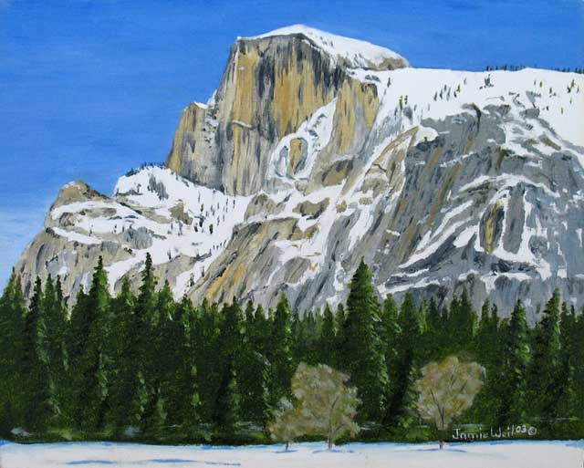 Half Dome with Snow, Oil Painting