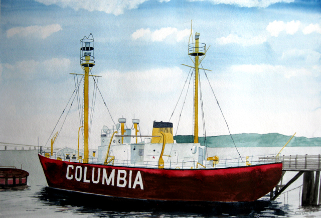 Columbia Lightship, Watercolor Painting