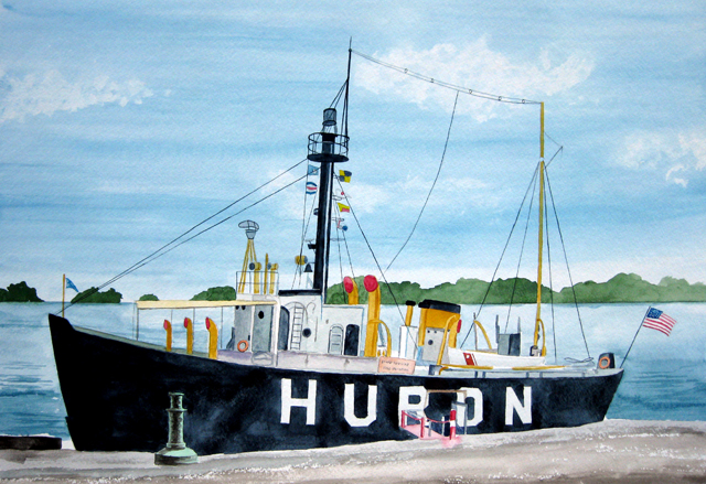 Lightship Huron, Watercolor Painting