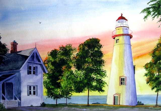 Marblehead Light, Watercolor Painting