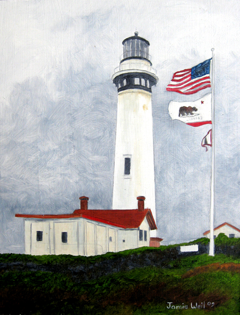 Pigion Point Light Station with Flag, 