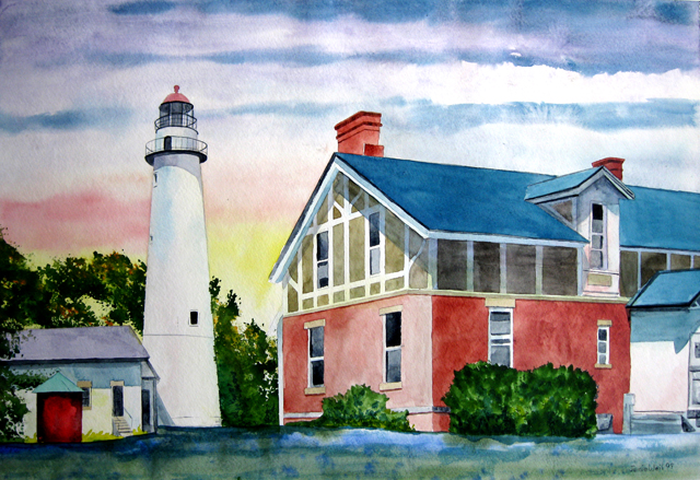 Point Aux Barques Lighthouse, Watercolor Painting