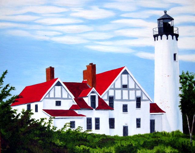 Point Iroquois Lighthouse, Watercolor Painting