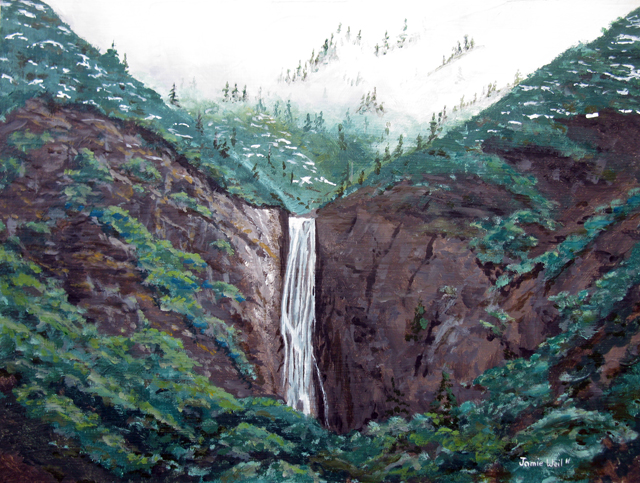 Rose Valley Falls, Acrylic Painting