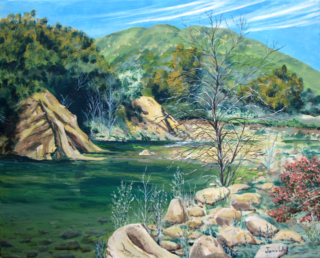 Swimming Hole in March, Acrylic Water Based Painting