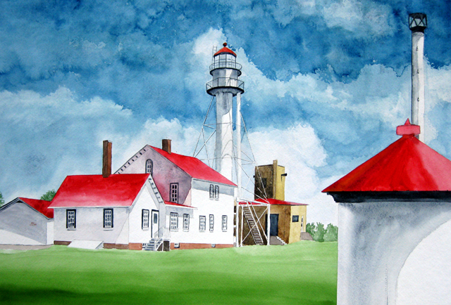 Whitefish Point Lighthouse, Watercolor  Painting