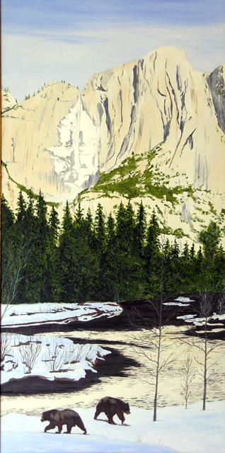 Yosemite Falls with Bear, Oil 