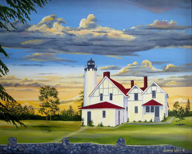 Point Iroquois Lighthouse, Oil Painting