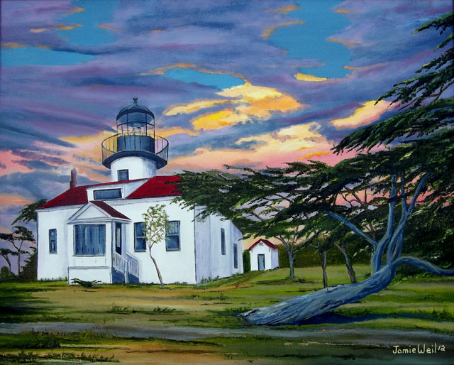 Point Pinos Lighthouse, Oil Painting
