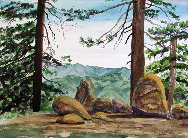 Reyes Campground, Watercolor Painting
