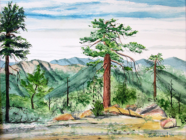 Reyes Campground View, Watercolor Painting